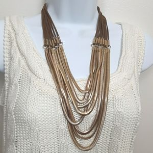 Vintage gold tone and leather necklace